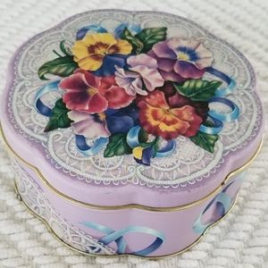 Vintage purple floral and lace flower shaped tin